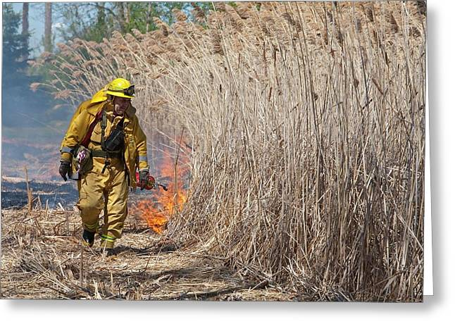 Controlled Fire Greeting Card by Jim West