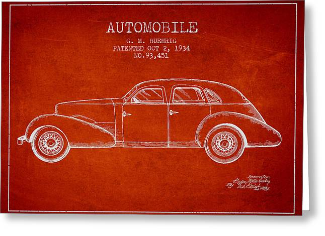 Cord Automobile Patent From 1934 Greeting Card