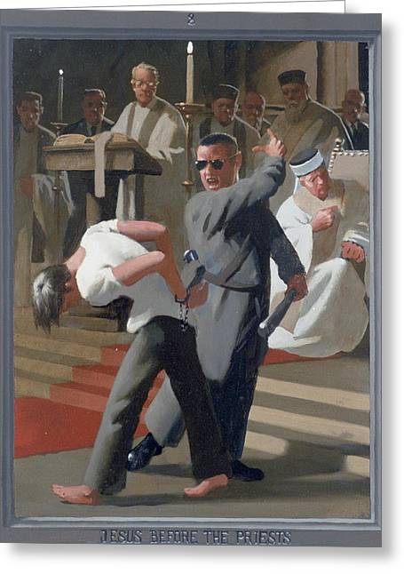 8. Jesus Before The Priests / From The Passion Of Christ - A Gay Vision Greeting Card by Douglas Blanchard
