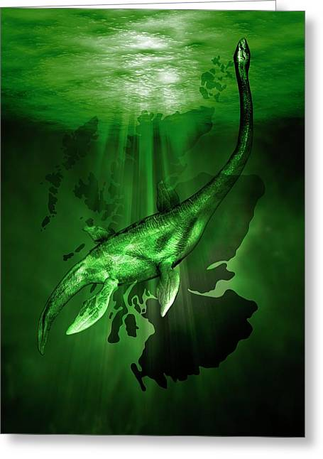 Loch Ness Monster Greeting Card by Victor Habbick Visions
