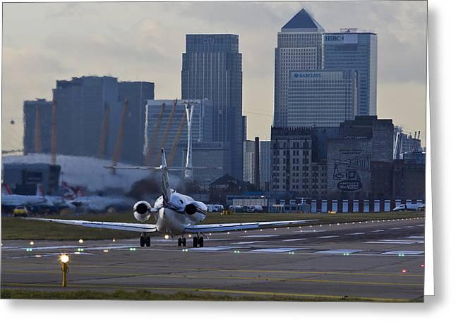 London City Airport Greeting Card by David Pyatt