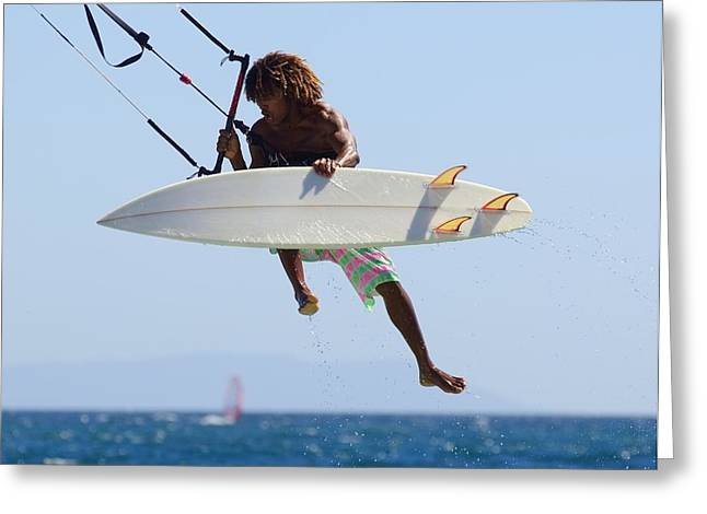 Man Kitesurfing Greeting Card by Ben Welsh