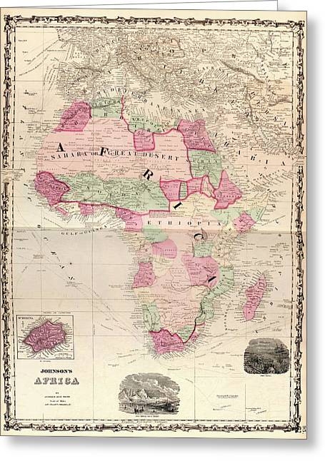 Map Of Africa Greeting Card by Library Of Congress, Geography And Map Division