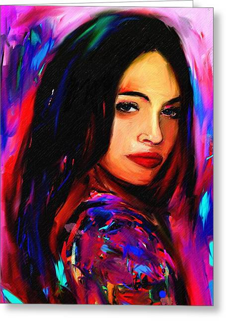 Megan Fox Greeting Card by Bogdan Floridana Oana