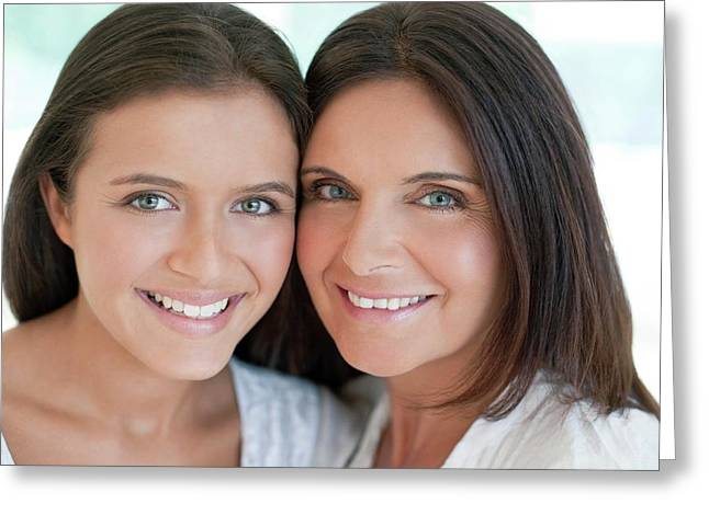 Mother And Teenage Daughter Greeting Card by Ian Hooton/science Photo Library