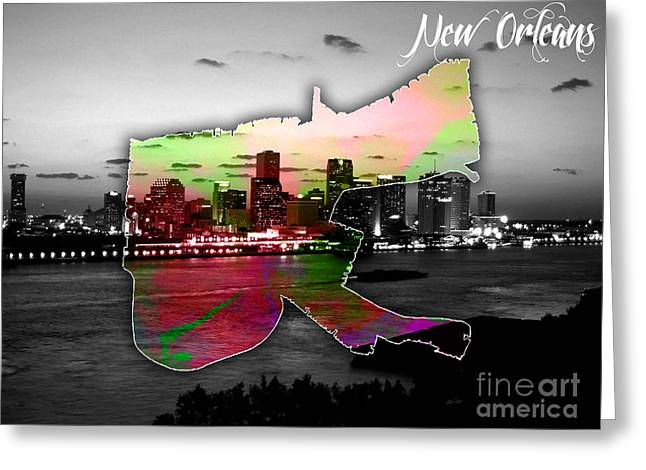 New Orleans Map And Skyline Watercolor Greeting Card by Marvin Blaine