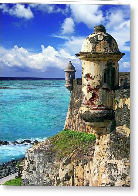 Puerto Rico, San Juan, Fort San Felipe Greeting Card by Miva Stock