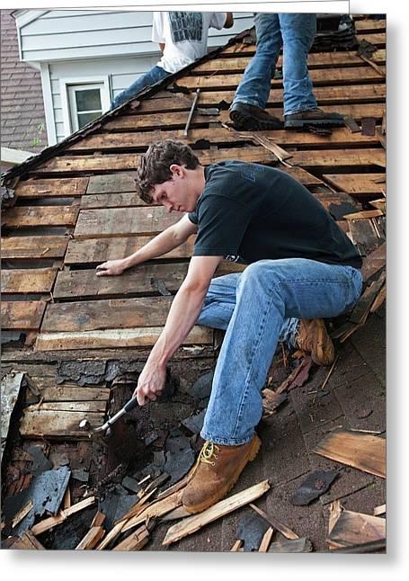 Repairing Flood Damage Greeting Card