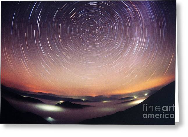 Star Trails Greeting Card by Laurent Laveder