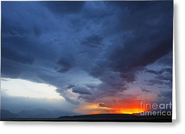 Stormclouds And Sunset Above Mountains At Toktogul In Kyrgyzstan Greeting Card