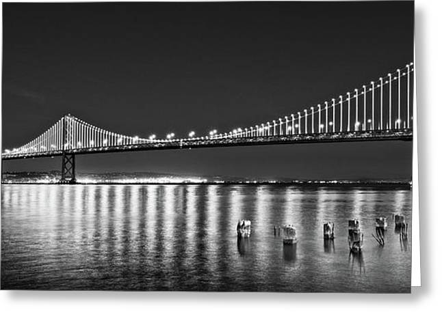Suspension Bridge Over Pacific Ocean Greeting Card by Panoramic Images