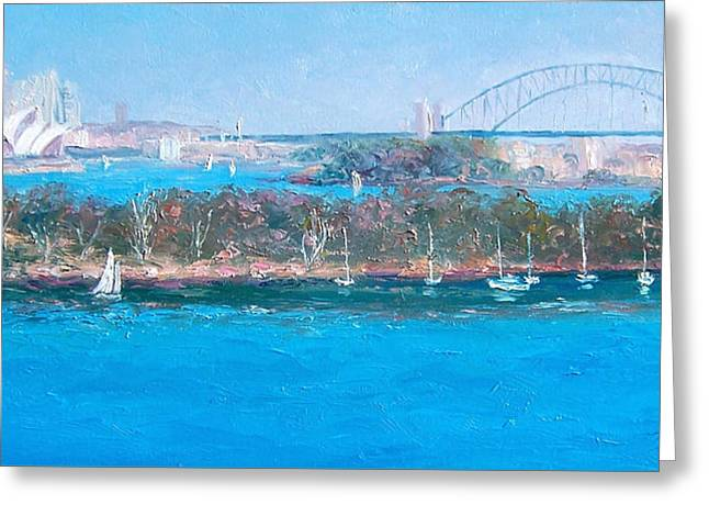 Sydney Harbour The Bridge And The Opera House By Jan Matson Greeting Card