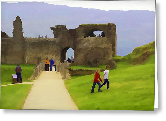 Tourists And The Path At Ruins Of The Urquhart Castle In Scotland Greeting Card by Ashish Agarwal