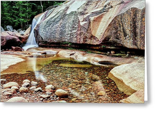 Water Falling From Rocks In A Forest Greeting Card