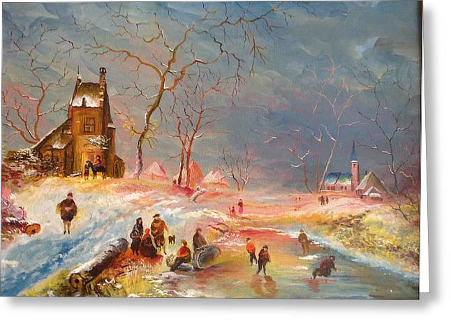 Greeting Card featuring the painting Winter Landscape by Egidio Graziani