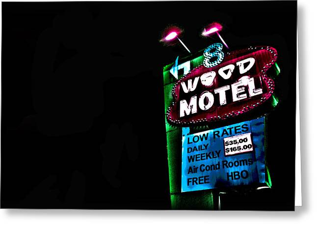 8 Wood Motel Greeting Card by Eliza Ollinger