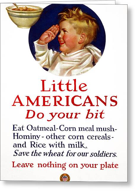 Wwi Food Supply, 1917 Greeting Card by Granger