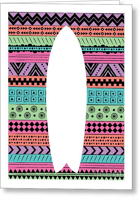 80s Fish Surfboard Greeting Card by Susan Claire
