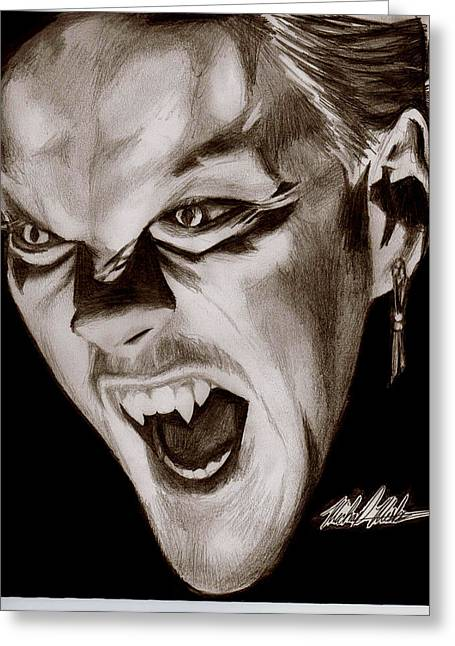 80's Vampire Greeting Card by Michael Mestas