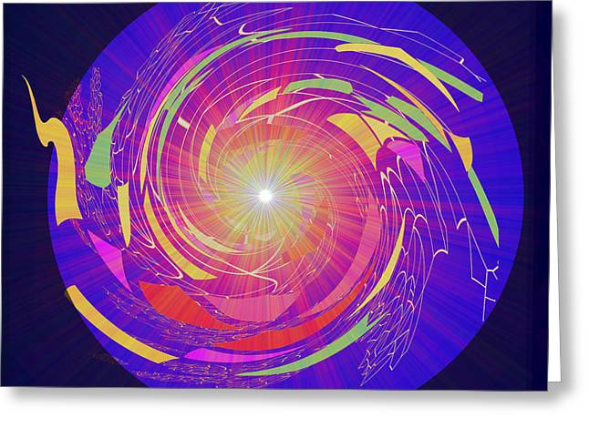 811 - Ever Changing Flow Of Life In The Dark Of   Universe Greeting Card by Irmgard Schoendorf Welch