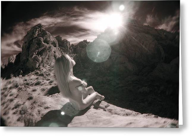 8145  Beautiful Sepia Nude In Mojave Desert Light  Greeting Card