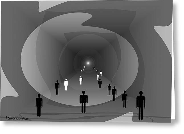 816 - Light At The End Of The Tunnel Greeting Card by Irmgard Schoendorf Welch