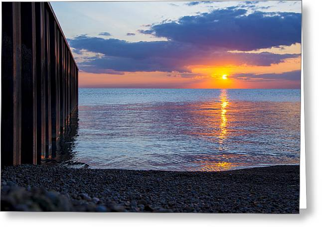 Greeting Card featuring the photograph 8.16.13 Sunrise Over Lake Michigan North Of Chicago 001 by Michael  Bennett