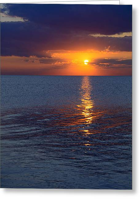 Greeting Card featuring the photograph 8.16.13 Sunrise Over Lake Michigan North Of Chicago 002 by Michael  Bennett