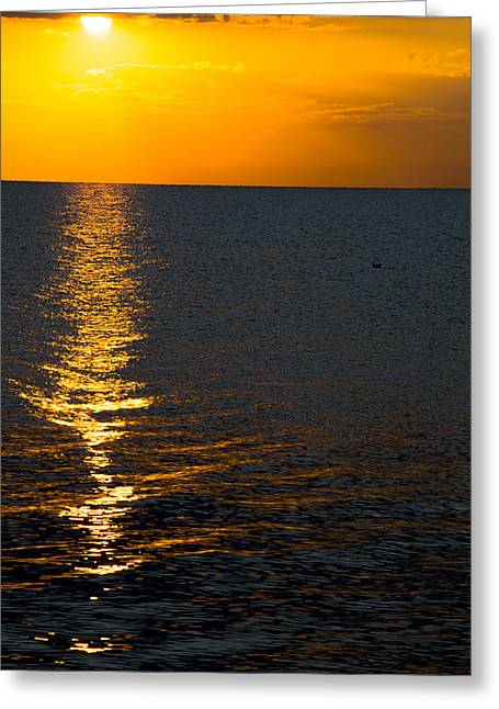 Greeting Card featuring the photograph 8.16.13 Sunrise Over Lake Michigan North Of Chicago 003 by Michael  Bennett
