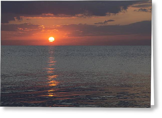 Greeting Card featuring the photograph 8.16.13 Sunrise Over Lake Michigan North Of Chicago 004 by Michael  Bennett
