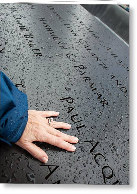 8462 911 Memorial A Touch Of A Hand Greeting Card by Deidre Elzer-Lento