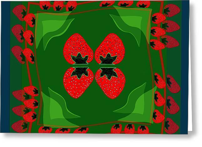 895 - Strawberry Fantasy Greeting Card by Irmgard Schoendorf Welch