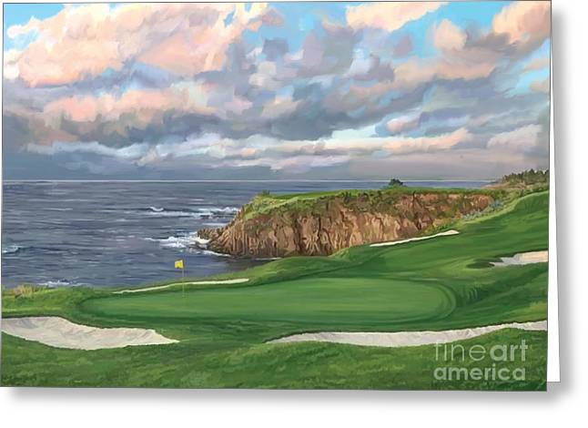8th Hole Pebble Beach Greeting Card by Tim Gilliland
