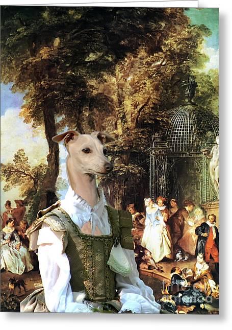 Italian Greyhound Art Canvas Print  Greeting Card by Sandra Sij