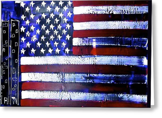 9-11 Flag Greeting Card by Richard Sean Manning