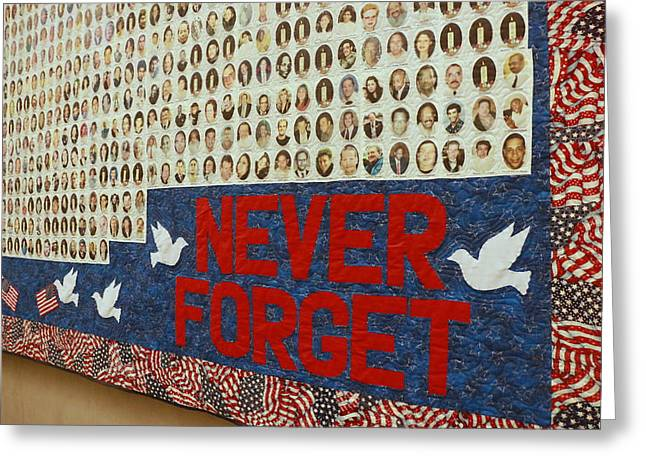 9-11 Memorial Quilt Greeting Card by Allen Beatty