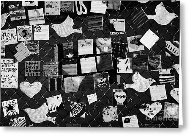 9 11 Tile Memorial Tiles Made By American Children And Displayed On Fence On 7th Avenue New York Usa Greeting Card by Joe Fox