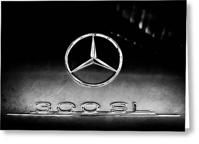 1955 Mercedes-benz Gullwing 300 Sl Emblem Greeting Card
