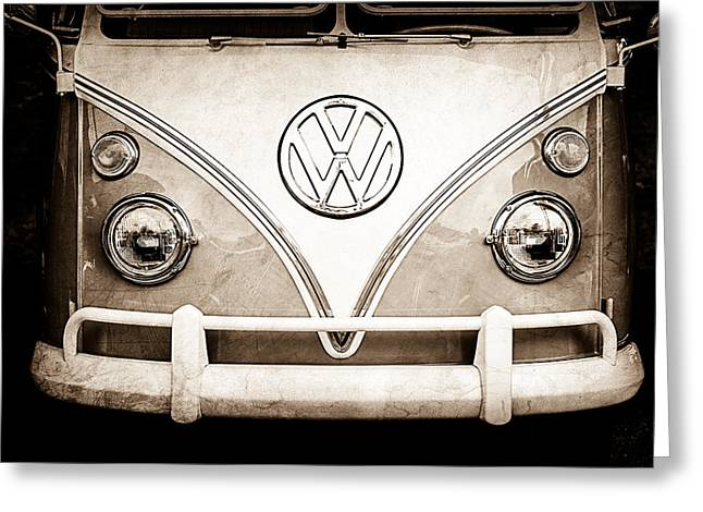 1964 Volkswagen Vw Samba 21 Window Bus Emblem Greeting Card by Jill Reger