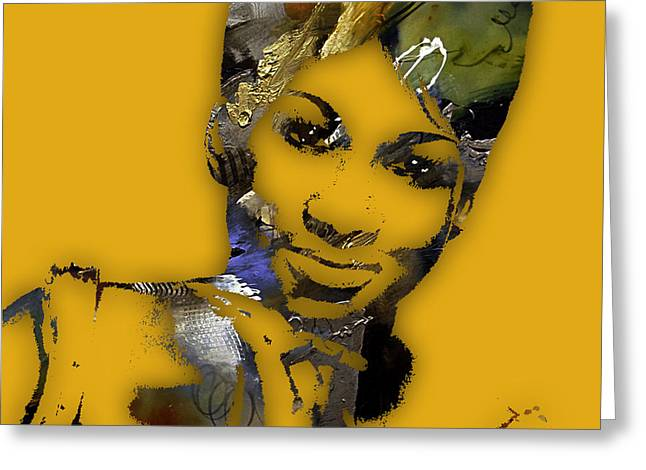 Aretha Franklin Collection Greeting Card by Marvin Blaine