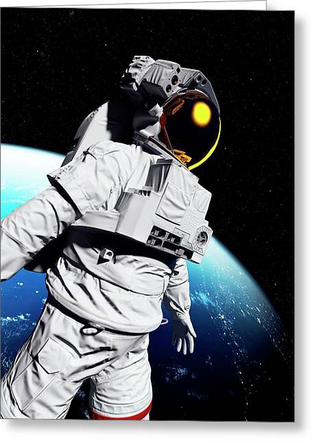 Astronaut In Space Greeting Card by Sciepro/science Photo Library