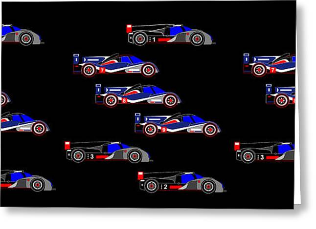 9 Audis And 9 Peugeots Greeting Card by Asbjorn Lonvig