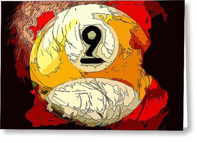 9 Ball Billiards Abstract Greeting Card by David G Paul