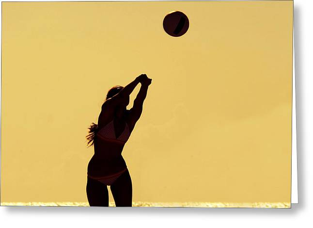 Beach Volleyball Greeting Card by Celso Diniz