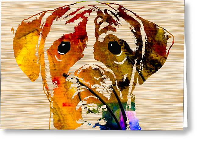 Boxer Greeting Card by Marvin Blaine