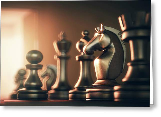 Chess Board And Pieces Greeting Card