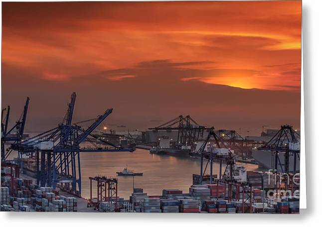 Container Cargo Freight Ship With Working Crane Bridge In Shipya Greeting Card