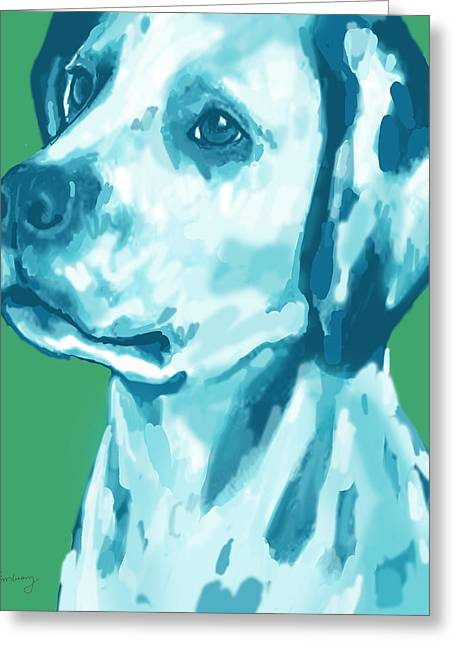 Dog Stylised Pop Modern Art Drawing Sketch Portrait Greeting Card by Kim Wang