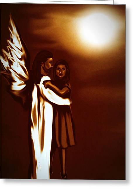 Guardian Angel Greeting Card by Carmen Cordova