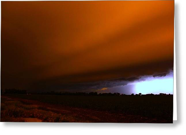 Late Night Nebraska Shelf Cloud Greeting Card